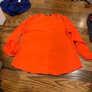 Tops - Orange V neck blouse size Small